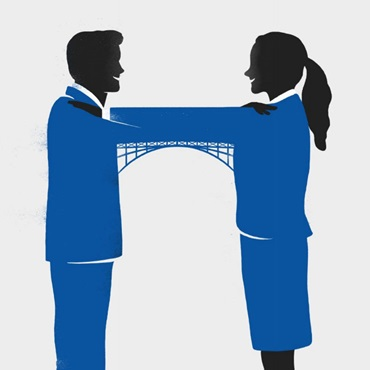 couple building bridge with arms