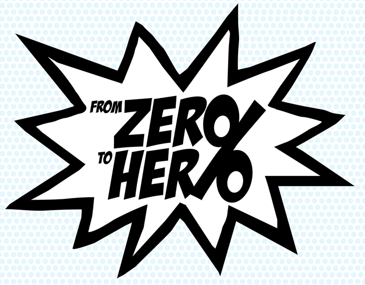 Starburst cartoon caption displaying 'From zero to hero'