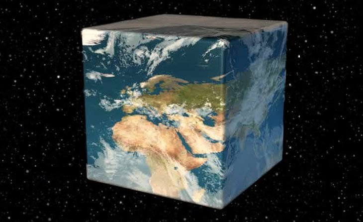 A reshaped (cube) planet Earth floating in space