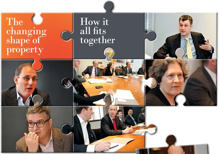 Jigsaw puzzle pieces based around a roundtable discussion regarding the changing shape of property